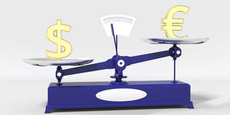 Dollar symbol outweighs Euro sign on balance scales. Financial market trend conceptual 3d rendering