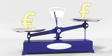 Euro symbol outweighs Pound sterling sign on balance scales. Financial market trend conceptual 3d rendering