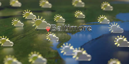 Baltimore city and partly cloudy weather icon on the map, weather forecast related 3D rendering 스톡 콘텐츠