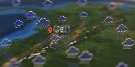 Cali city and rainy weather icon on the map, weather forecast related 3D rendering Stock fotó