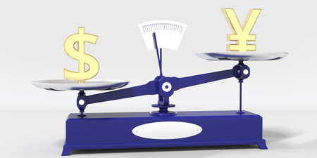 Dollar symbol outweighs Yen sign on balance scales. Financial market trend conceptual 3d rendering