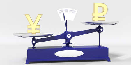 Yen symbol outweighs Ruble sign on balance scales. Financial market trend conceptual 3d rendering