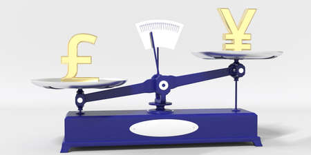 Pound sterling sign outweighs Yen symbol on balance scales. Financial market trend conceptual 3d rendering