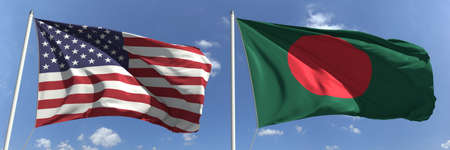 Flags of the USA and Bangladesh on flagpoles. 3d rendering