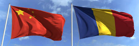 Waving flags of China and Romania on flagpoles, 3d rendering Stock Photo