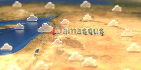 Cloudy weather icons near Damascus city on the map, weather forecast related 3D rendering
