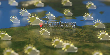Hamburg city and partly cloudy weather icon on the map, weather forecast related 3D rendering