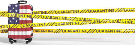 Quarantine warning stripes and a baggage with flag of the USA. Tourism restriction concept, 3d rendering