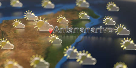 Antananarivo city and partly cloudy weather icon on the map, weather forecast related 3D rendering