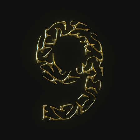 High resolution number nine 9 symbol made of molded golden lines. 3d rendering