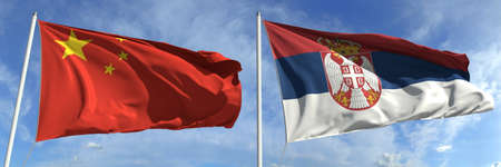 Flying flags of China and Serbia on high flagpoles. 3d rendering