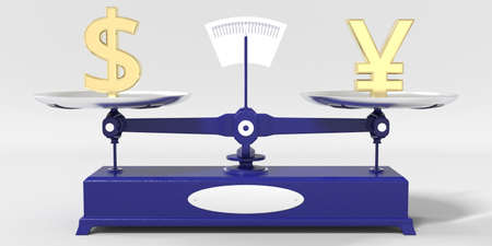 Dollar symbol weighs the same as Yen sign on balance scales. Financial market conceptual 3d rendering