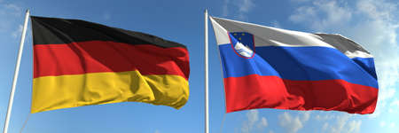 National flags of Germany and Slovenia, 3d rendering