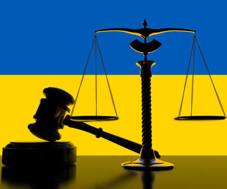 National flag of Ukraine behind court gavel and scales. 3d rendering