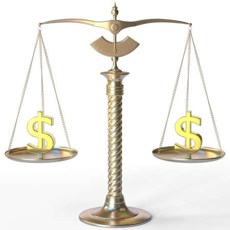 Dollar USD symbols on golden balance scales, forex parity conceptual 3d rendering