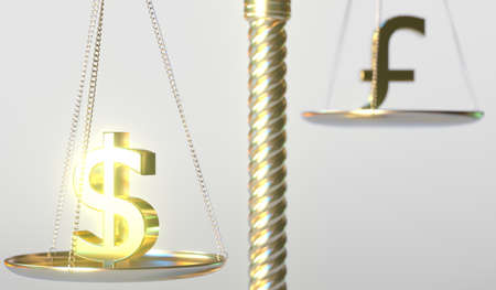 Dollar USD sign weighs less than Pound sterling symbol on golden balance scales, conceptual 3d rendering
