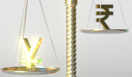 Yen JPY sign weighs less than Rupee symbol on balance scales, conceptual 3d rendering