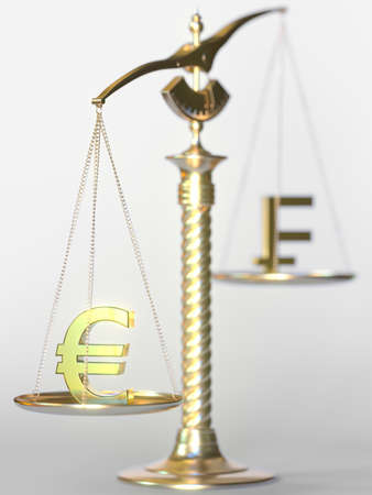 Euro EUR weighs more than Swiss franc on balance scales. Forex trend concept. 3d rendering 写真素材