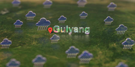 Rainy weather icons near Guiyang city on the map, weather forecast related 3D rendering Stock fotó