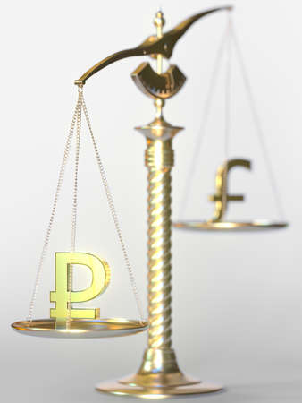 Ruble RUB weighs more than Pound sterling on balance scales. Forex trend concept. 3d rendering