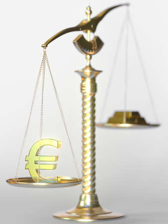Euro sign weighs more than gold bars on balance scales. Financial market concept, 3d rendering
