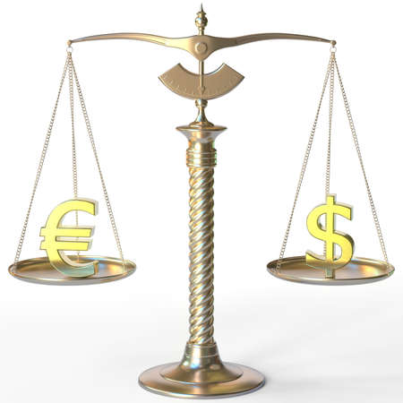 Euro EUR symbol and Dollar sign on golden balance scales, forex parity conceptual 3d rendering