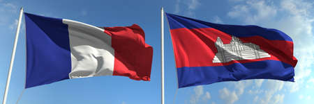 Flags of France and Cambodia on flagpoles. 3d rendering Stok Fotoğraf