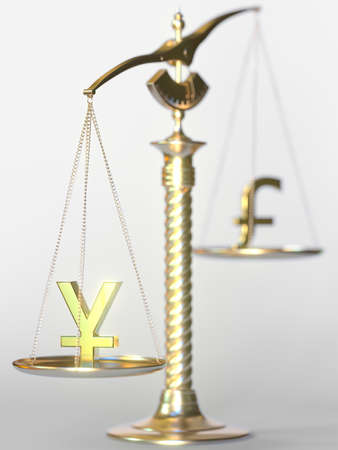 Yen JPY weighs more than Pound sterling on balance scales. Forex trend concept. 3d rendering
