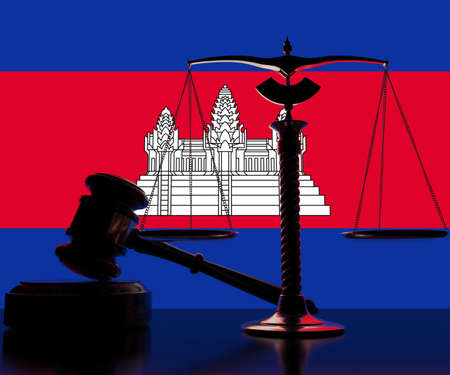 Backlit judge gavel and scales on flag of Cambodia background, 3d rendering Stok Fotoğraf