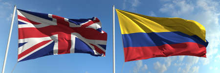 Flags of Great Britain and Colombia on flagpoles. 3d rendering