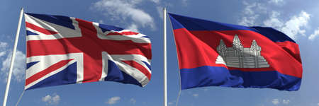 Waving flags of Great Britain and Cambodia on flagpoles, 3d rendering