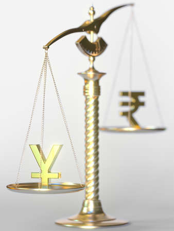 Yen JPY weighs more than Rupee on balance scales. Forex trend concept. 3d rendering