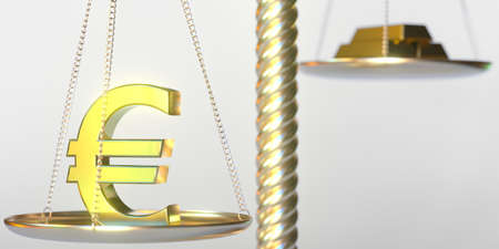 Euro symbol weighs more than gold bars on balance scales. Financial market concept, 3d rendering