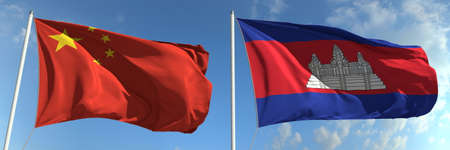 National flags of China and Cambodia, 3d rendering