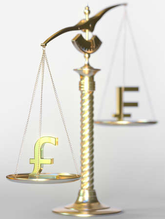 Pound sterling GBP weighs more than Swiss franc on balance scales. Forex trend concept. 3d rendering