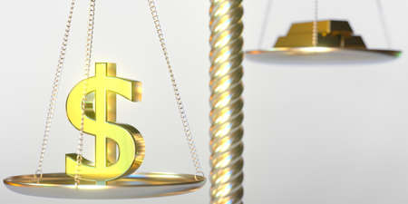 Dollar symbol weighs more than gold bars on balance scales. Financial market concept, 3d rendering