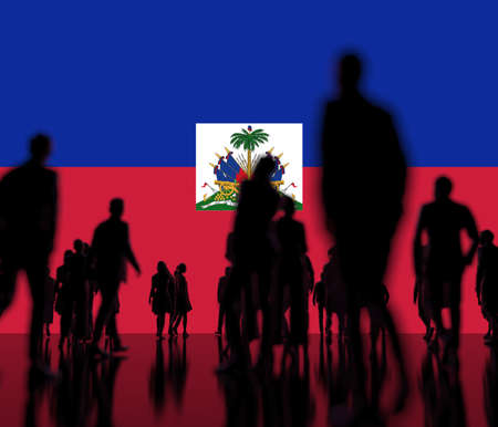 Silhoettes of people on the flag of Haiti background 3d rendering