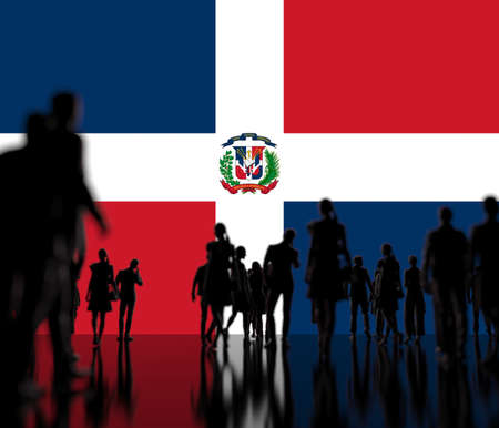 Unknown people on the flag of the Dominican Republic background 3d rendering