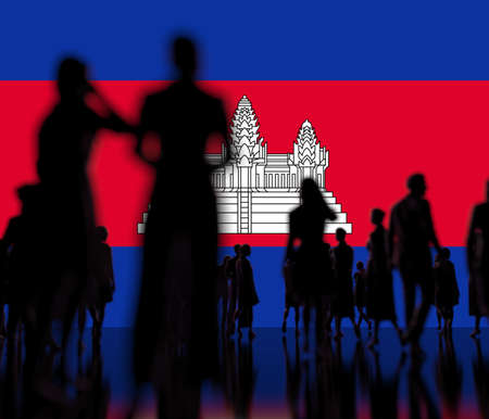 Flag of Cambodia and backlit crowd, 3d rendering