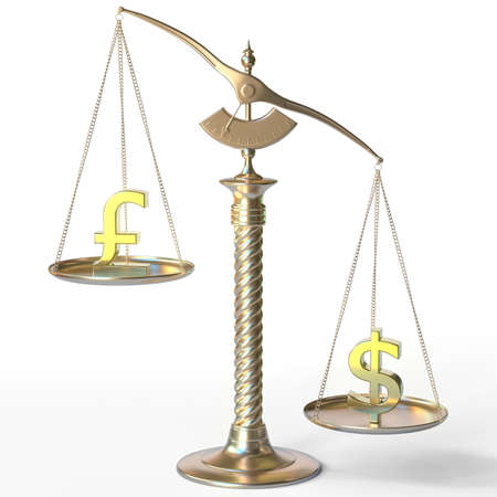 Pound sterling GBP sign weighs less than Dollar symbol on golden balance scales, 3d rendering