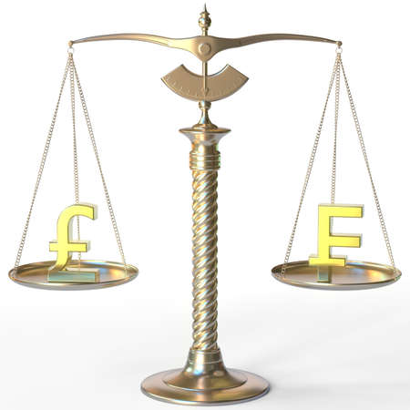 Pound sterling GBP symbol and Swiss franc sign on golden balance scales, forex parity conceptual 3d rendering