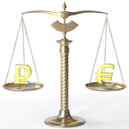 Ruble RUB symbol and Euro sign on balance scales, forex parity conceptual 3d rendering