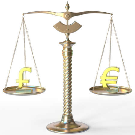 Pound sterling GBP symbol and Euro sign on golden balance scales, forex parity conceptual 3d rendering