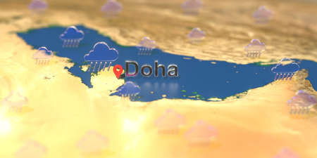 Doha city and rainy weather icon on the map, weather forecast related 3D rendering