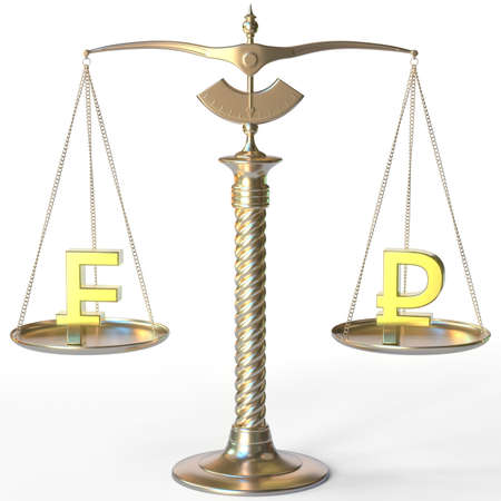 Swiss franc CHF symbol and Ruble sign on golden balance scales, forex parity conceptual 3d rendering Banco de Imagens