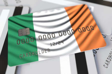 Flag of Ireland on the credit card 3d rendering