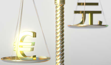 Euro EUR sign weighs more than Renminbi yuan symbol on golden balance scales, conceptual 3d rendering