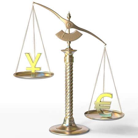 Yen JPY sign weighs less than Euro symbol on golden balance scales, 3d rendering 版權商用圖片