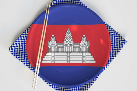 Chopsticks and plate with printed flag of Cambodia, national cuisine concept. 3d rendering