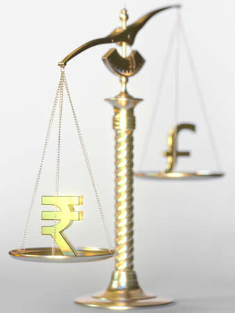 Rupee INR weighs more than Pound sterling on balance scales. Forex trend concept. 3d rendering